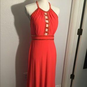 Xscape fire orange formal gown